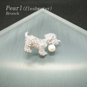 ブローチ レディース 淡水パール 犬|jewelry-matumoto