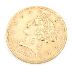 アメリカ製の5ドルコイン。 年号は1880年【女神 (頭像) 】の名称で有名な一品です。