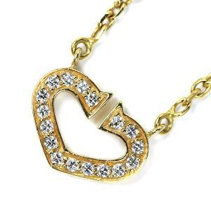 カルティエ K18YG ダイヤモンド ペンダントネックレス CハートジュエリーNJ