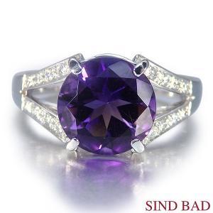 アメジスト 指輪 プラチナ リング 2.3ct メレダイヤ 0.108ct|jewelry-sindbad