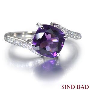 アメジスト 指輪 プラチナ リング 2月 誕生石1.0ct メレダイヤ 0.06ct jewelry-sindbad