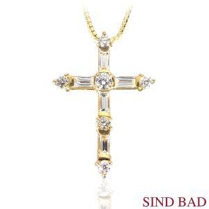 ダイヤモンド K18 クロスイエローゴールド 十字架 ネックレス トップ テーパー ペンダント ヘッド 0.53ct【ダイヤモンド】|jewelry-sindbad