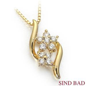 スイートテンダイヤモンド K18 イエローゴールド ネックレス ペンダント 0.12ct ダイヤモンド10石 【スイートテン ダイヤモンド】 jewelry-sindbad