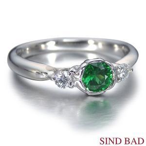 グリーンガーネット 0.350ct ガーネット 指輪 プラチナ リング グリーンガーネット 0.350ct ダイヤ 0.106ct|jewelry-sindbad