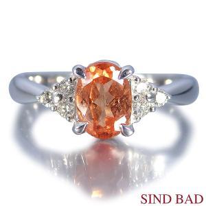 スペサルティンガーネット 1.170ct ガーネット 指輪 プラチナ リング ガーネット 1.170ct ダイヤ 0.120ct|jewelry-sindbad