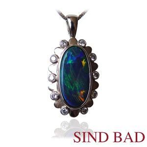 ブラックオパール ネックレス トップ プラチナ ペンダント ヘッド 2.41ct|jewelry-sindbad