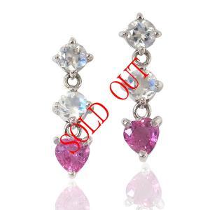 ピンクサファイヤ0.19ct×2とムーンストーン0.20ct×2のピアス|jewelry-sindbad