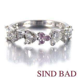 ピンクダイヤモンド 0.051ct ハートダイヤモンド 0.7ct メレダイヤ 0.096ct 指輪 プラチナ ハーフエタニティ リング|jewelry-sindbad