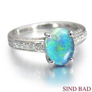 ブラックオパール 指輪 プラチナ リング 0.978ct オパール|jewelry-sindbad