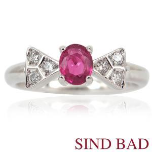 ルビー 指輪 プラチナ リング 0.335ct リボン リング|jewelry-sindbad
