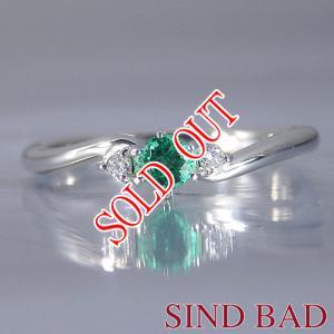 エメラルド 指輪  プラチナ リング エメラルド 0.12ct ダイヤ 0.022ct 【エメラルド】|jewelry-sindbad