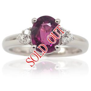 グレープガーネット ロードライトガーネット 指輪 プラチナ リング ガーネット 1.35ct|jewelry-sindbad