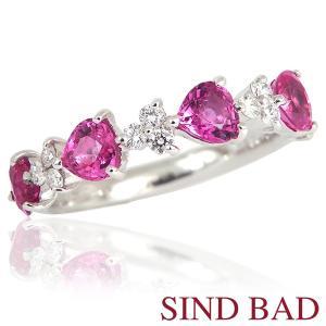 ピンクサファイア ハートシェイプ ハーフエタニティ 指輪 サファイア プラチナ リング サファイヤ 1.385ct 【ピンクサファイヤ】|jewelry-sindbad