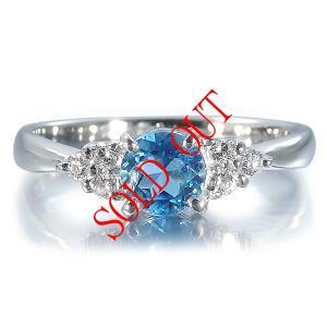サンタマリアアクアマリン  0.483ct 指輪 プラチナ リング アクアマリン 0.483ct ダイヤ 0.103ct|jewelry-sindbad