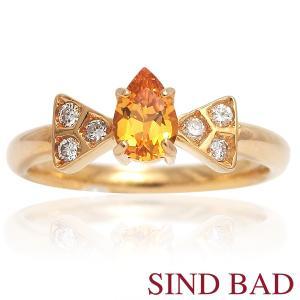 イエローサファイア 指輪 リボン K18イエローゴールド サファイヤ リング ペアシェイプ 0.433ct ダイヤ 0.095ct|jewelry-sindbad