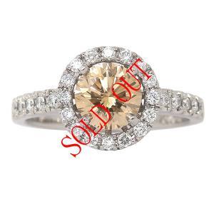 ブラウンダイヤ 指輪 プラチナ リング ブラウンダイヤモンド 0.910ct ファンシー ライト イエロウィッシュ ブラウン ラウンド 中央宝石研究所鑑定書付き|jewelry-sindbad