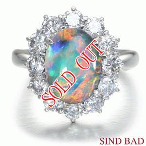 ブラックオパール 指輪 プラチナ リング 2.080ct 中央宝石研究所鑑別書付き|jewelry-sindbad