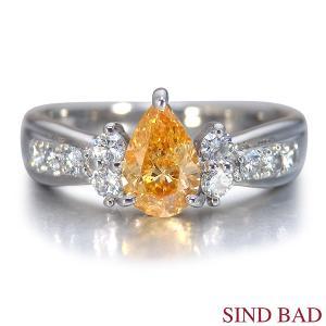 オレンジダイヤ 指輪 プラチナ リング オレンジダイヤモンド 0.565ct ファンシー インテンス イエロー オレンジ ペアシェイプ AGTジェムラボラトリー鑑定書付き|jewelry-sindbad