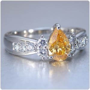 オレンジダイヤ 指輪 プラチナ リング オレンジダイヤモンド 0.565ct ファンシー インテンス イエロー オレンジ ペアシェイプ 全国宝石学協会鑑定書付き|jewelry-sindbad|02
