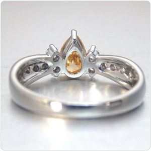 オレンジダイヤ 指輪 プラチナ リング オレンジダイヤモンド 0.565ct ファンシー インテンス イエロー オレンジ ペアシェイプ 全国宝石学協会鑑定書付き|jewelry-sindbad|05