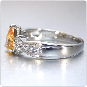 オレンジダイヤ 指輪 プラチナ リング オレンジダイヤモンド 0.565ct ファンシー インテンス イエロー オレンジ ペアシェイプ 全国宝石学協会鑑定書付き|jewelry-sindbad|06