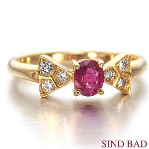 ルビー 指輪 K18 イエローゴールド ルビー リボン リング 0.43ct|jewelry-sindbad