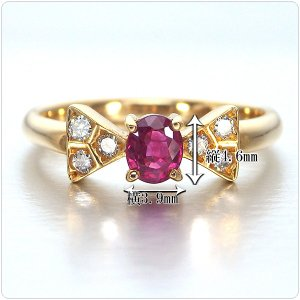 ルビー 指輪 K18 イエローゴールド ルビー リボン リング 0.43ct|jewelry-sindbad|03