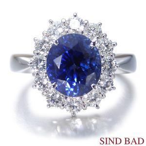 非加熱サファイア 指輪 プラチナ リング 3.454ct ダイヤ 0.723ct 中央宝石研究所鑑別書付き|jewelry-sindbad
