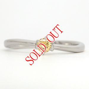 イエローダイヤ 指輪 プラチナ リング イエローダイヤモンド 0.091ct ファンシー ディープ イエロー ラウンド 中央宝石研究所鑑定書付き|jewelry-sindbad