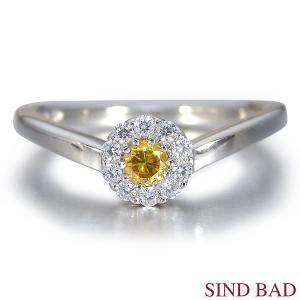 イエローダイヤ 指輪 プラチナ リング イエローダイヤモンド 0.105ct ファンシー ディープ イエロー ラウンド 中央宝石研究所鑑定書付き|jewelry-sindbad