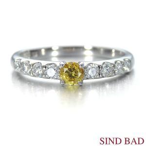 イエローダイヤ 指輪 プラチナ リング イエローダイヤモンド 0.162ct ファンシー ヴィヴィッド イエロー ラウンド 中央宝石研究所鑑定書付き|jewelry-sindbad