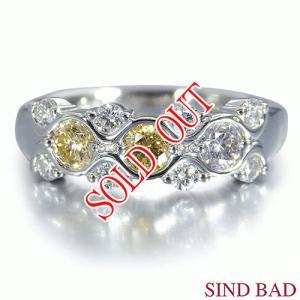 イエローダイヤ 指輪 プラチナ リング イエローダイヤモンド 0.348ct |jewelry-sindbad