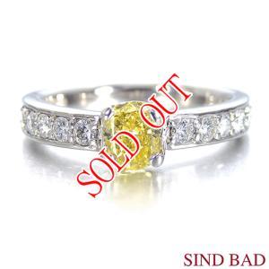 イエローダイヤ 指輪 プラチナ リング イエローダイヤモンド 0.589ct ファンシー ヴィヴィッド イエロー オーバル 中央宝石研究所鑑定書付き|jewelry-sindbad