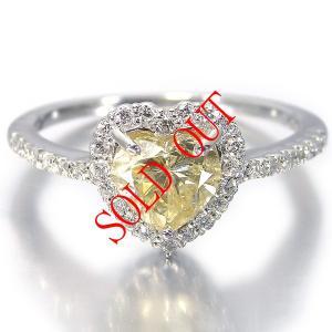 イエローダイヤ 指輪 プラチナ リング イエローダイヤモンド 0.694ct ファンシー イエロー ハート 中央宝石研究所鑑定書付き|jewelry-sindbad