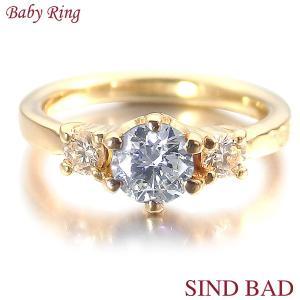 ベビーリング 18金 K18 ダイヤモンド 4月 文字入れ 刻印無料 出産祝い Baby ring jewelry-sindbad