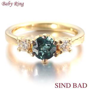 ベビーリング 18金 K18 トルマリン 10月 文字入れ 刻印無料 出産祝い Baby ring jewelry-sindbad
