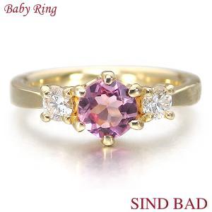 ベビーリング 18金 K18 ピンクトルマリン 10月 文字入れ 刻印無料 出産祝い Baby ring jewelry-sindbad