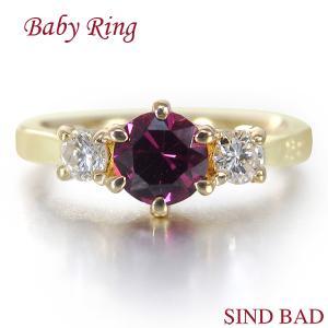 ベビーリング 18金 K18 ガーネット 1月 文字入れ 刻印無料 出産祝い Baby ring jewelry-sindbad