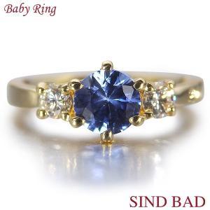 ベビーリング 18金 K18 サファイア 9月 文字入れ 刻印無料 出産祝い Baby ring jewelry-sindbad