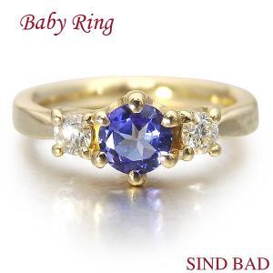 ベビーリング 18金 K18 タンザナイト 12月 文字入れ 刻印無料 出産祝い Baby ring