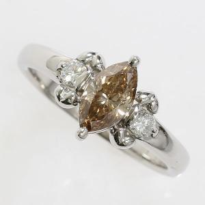 リング マーキスカット ダイヤモンド 計0.16ct ブラウンダイヤモンド 0.95ct 15号 プラチナ(Pt900) 【中古】 ジュエリー 【新品仕上げ済み】|jewelry-total