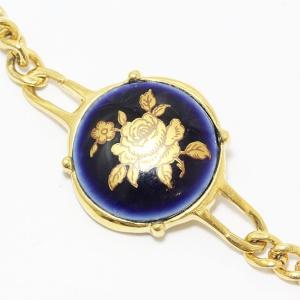 LIMOGES CASTEL (リモージュキャッスル) ブレスレット 紺 ネイビー 陶器×ゴールドメッキ 【中古】 アクセサリー|jewelry-total