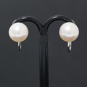 アコヤ パール 本真珠 約 7.5mm イヤリング 14金ホワイトゴールド(K14WG)  【中古】 ジュエリー 【新品仕上げ済み】|jewelry-total
