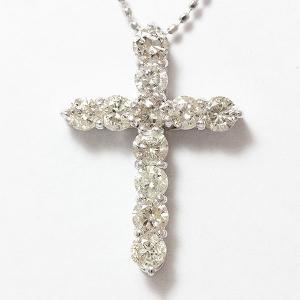 クロス ダイヤモンド 計1.00ct ネックレス  18金ホワイトゴールド(K18WG)   【中古】 ジュエリー 【新品仕上げ済み】|jewelry-total