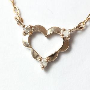 4℃(ヨンドシー) ネックレス ハート ダイヤモンド   18金ピンクゴールド(K18PG)   【中古】ブランド ジュエリー 【新品仕上げ済み】 jewelry-total