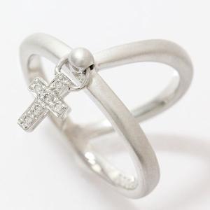 クロス ダイヤモンド 計0.06ct リング 13号 18金ホワイトゴールド(K18WG)   【中古】ジュエリー 【新品仕上げ済み】|jewelry-total