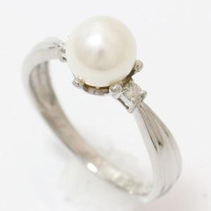 真珠  パール 6.5mm ダイヤモンド 計0.05ct リング 9号 プラチナ(Pt900)   【中古】ジュエリー 【新品仕上げ済み】|jewelry-total