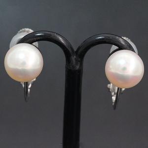 真珠 パール 7.5mm イヤリング  14金ホワイトゴールド(K14WG)   【中古】 ジュエリー 【新品仕上げ済み】|jewelry-total