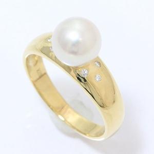 真珠  パール 約7.6mm ダイヤモンド 計0.05ct リング 11号 18金イエローゴールド(K18YG)   【中古】ジュエリー 【新品仕上げ済み】 jewelry-total