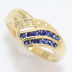 サファイア 計0.32ct/ダイヤモンド 計0.03ct リング 8号 18金イエローゴールド(K18YG)   【中古】ジュエリー 【新品仕上げ済み】 netshop|jewelry-total